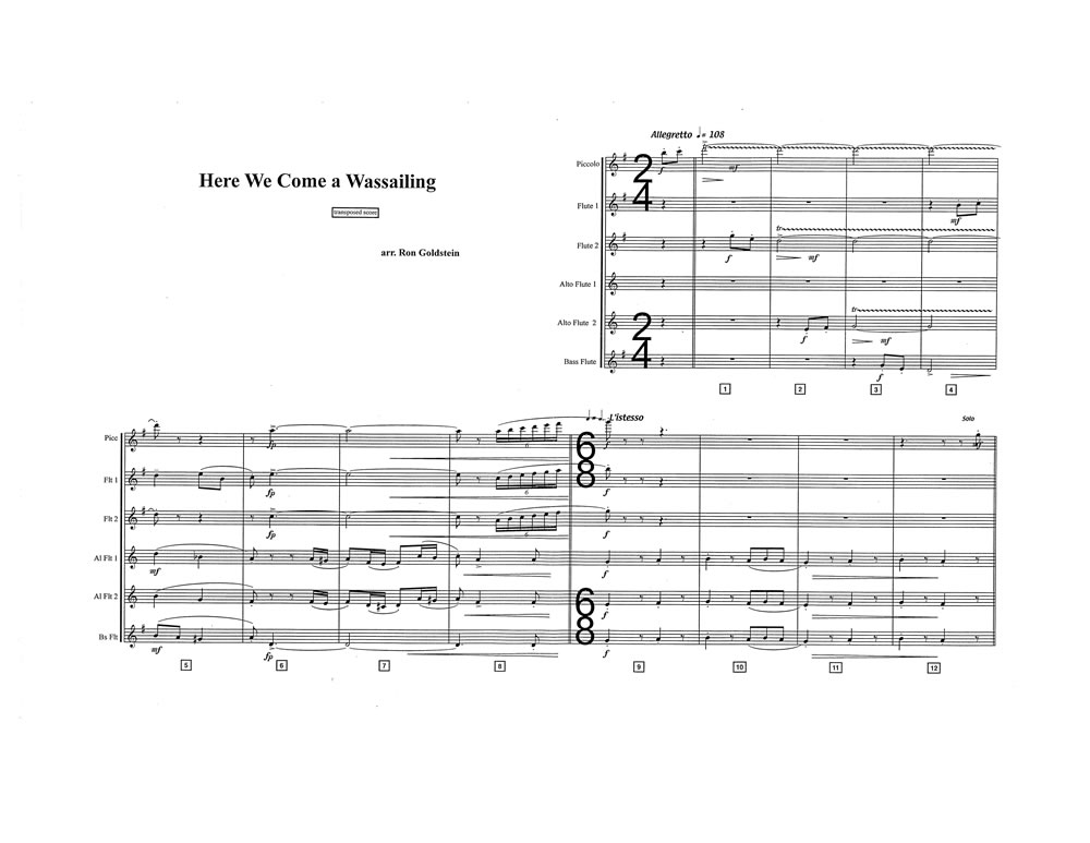 Here We Come A Wassailing SCORE Pages 1 & 2